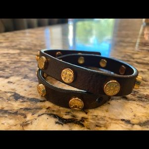 Authentic Tory Burch Brown Logo Leather Bracelet